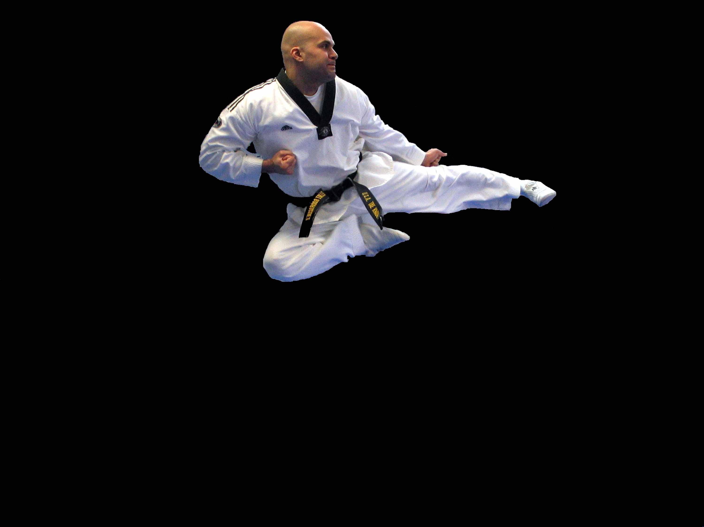 Taekwondo flying side kick